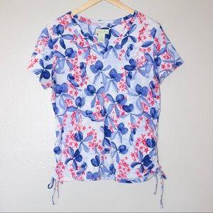 Caribbean Joe Floral Hawaiian V-Neck T-Shirt